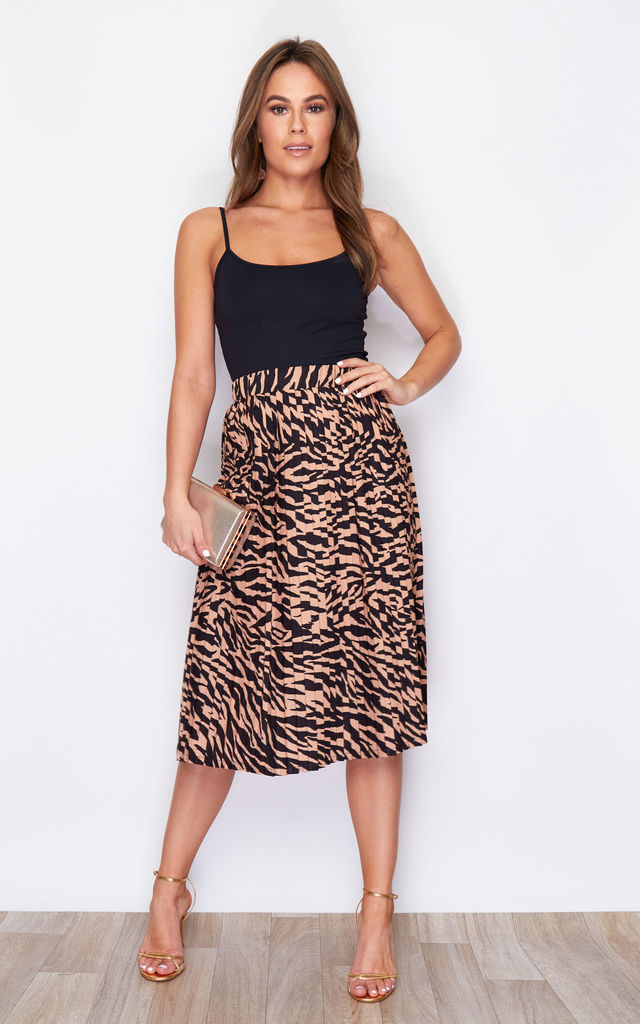 Arianna Pleated Midi Skirt Tiger Print by Girl In Mind