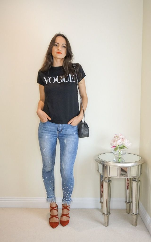 Pearl Jeans with Fringe Detailing by Styled Clothing
