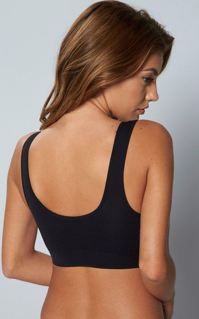 Seamless Padded Pull on Bra in Black by BB Lingerie
