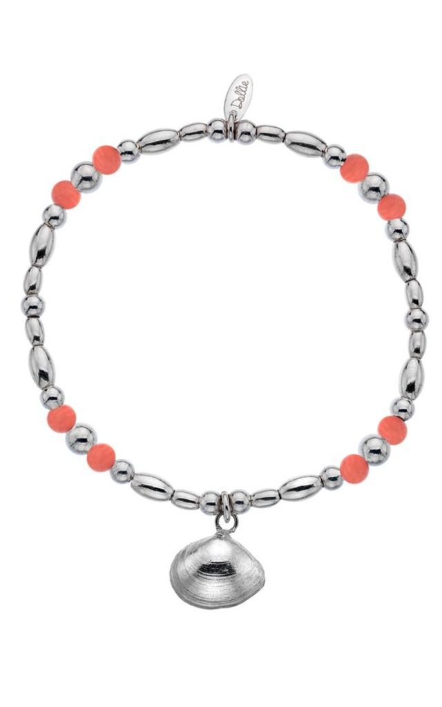 Coral Bay Sterling Silver Beaded Bracelet with Coral Beads by Dollie Jewellery