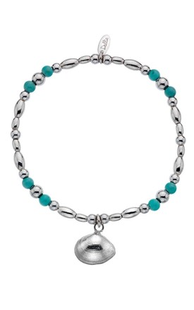 Turquoise Bay Beaded Sterling Silver Bracelet with Turquoise Beads by Dollie Jewellery