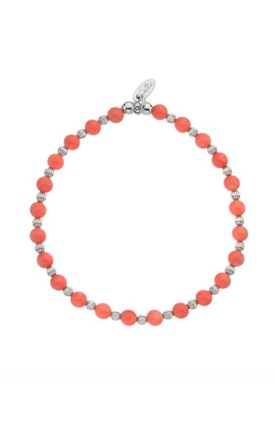 Coral Reef Beaded Stacking Bracelet with Sterling Silver and Coral Beads by Dollie Jewellery