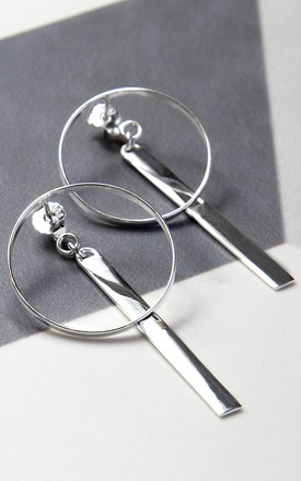 Sterling Silver Large Ring And Bar Stud Earrings by Martha Jackson Jewellery