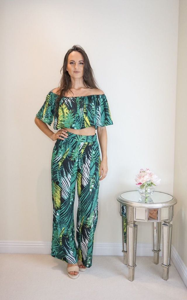 Bardot Top and Trousers Co old Set in Green Palm Print by Styled Clothing
