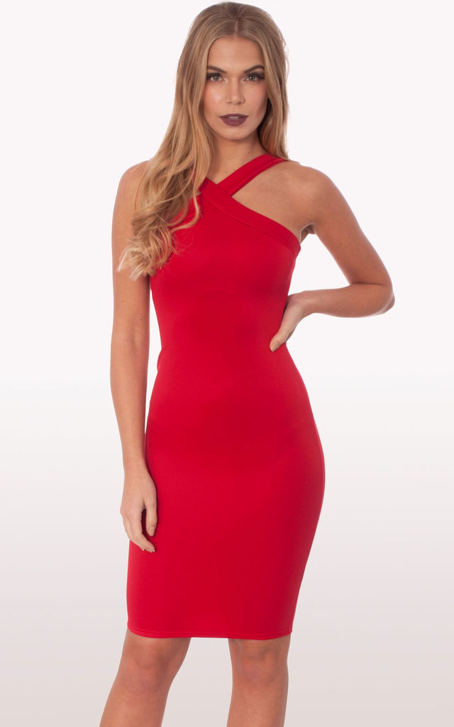 c500a0dc04 Zaria Red Scuba Bodycon Midi Dress by Modamore