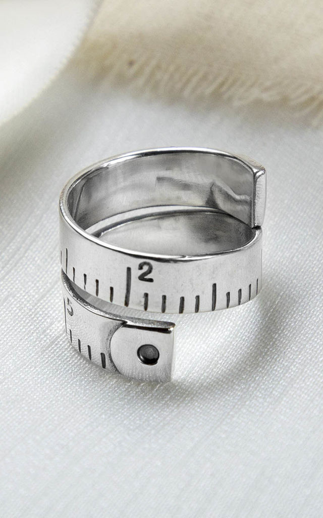 Sterling Silver Adjustable Measuring Tape Ring by Martha Jackson Jewellery
