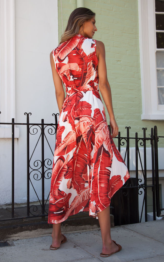 Red/Burnt Orange Tropical Palm Leaf Wrap Style Maxi Dress by Styled In London