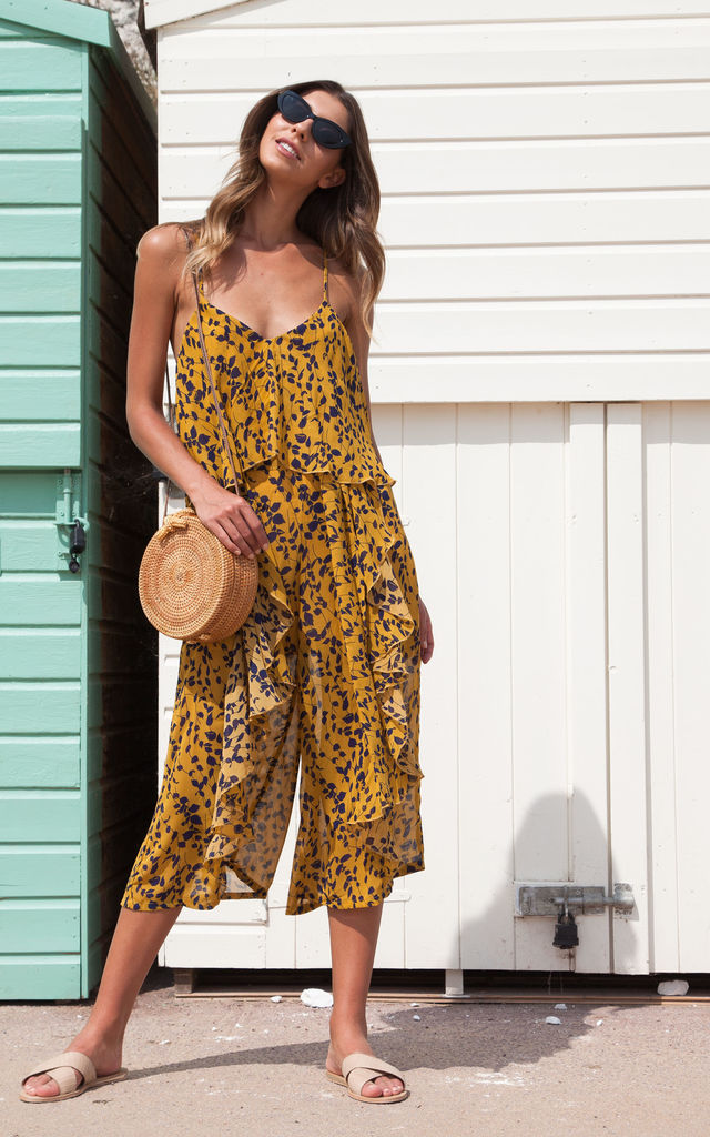 Mustard Cold Shoulder Culotte Frill Cami Jumpsuit by Styled In London