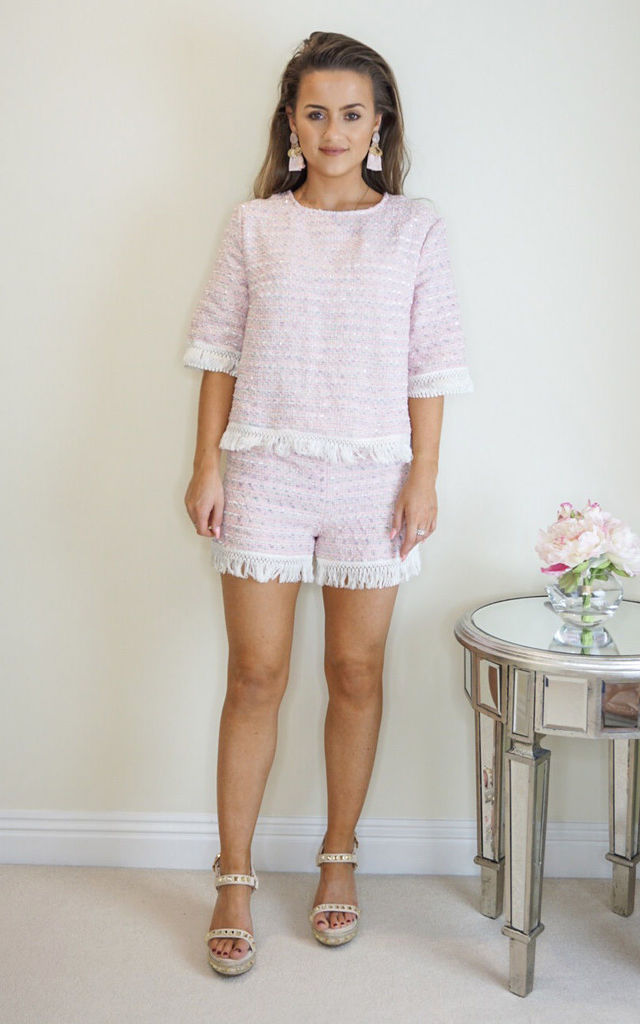 Fringed Top and Shorts Co-ord Set in Pink Tweed by Styled Clothing