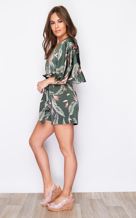 Ciana V Neck Tie Waist Batwing Sleeve Playsuit Green Palm Print by Girl In Mind