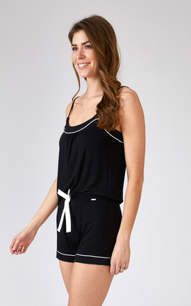 Bamboo Pyjama Set with Cami and Shorts in Black by Pretty You London