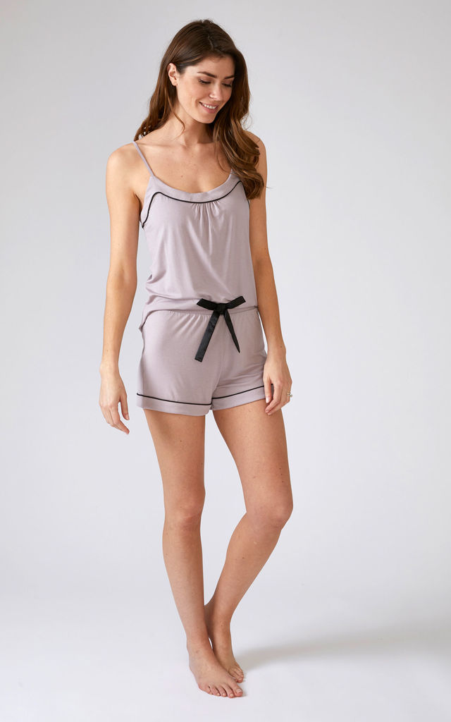 Bamboo Pyjama Set with Cami and Shorts in Oyster Purple by Pretty You London