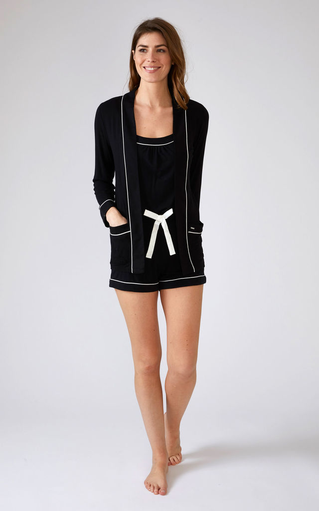 Bamboo Nightwear Pyjama Jacket in Black by Pretty You London