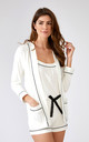 Bamboo Nightwear Pyjama Jacket in Cream by Pretty You London