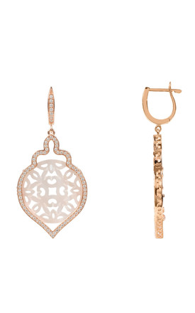 MEDIUM TEAR DROP ROSE GOLD EARRING WITH CARVED WHITE MOTHER OF PEARL DESIGN by Latelita London