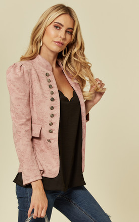 Pink Tailored Faux Suede Floral Blazer Jacket by ANGELEYE