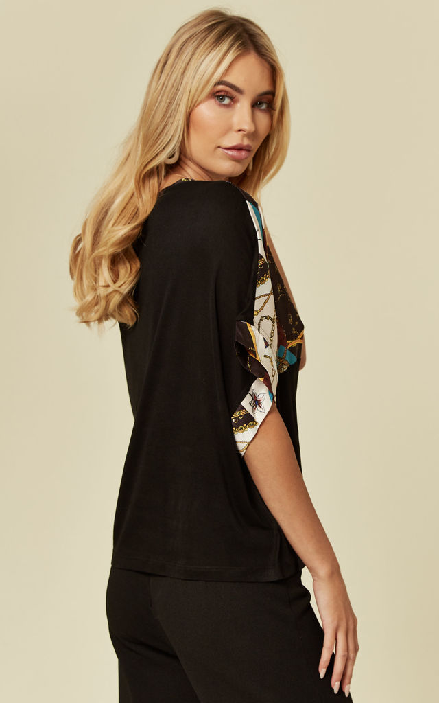 Black Oversized Chain Print T-Shirt by ANGELEYE