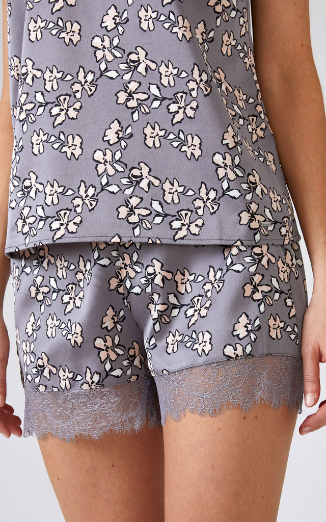Mix and Match | Nightwear Pyjama Shorts in Dove Grey Floral Print (Shorts Only) by Pretty You London