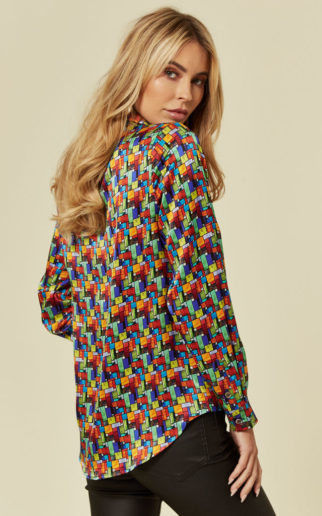 Luxurious Fitted Silk Satin Shirt in Stained Glass Print by Belles of London
