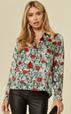 Poppy Print Fitted  Silk Satin Shirt by Belles of London