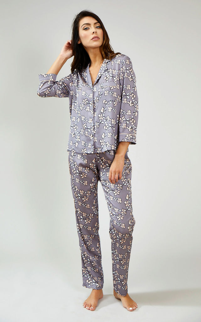 Mix and Match | Floral Nightwear Pyjama Trouser Bottoms in Dove Grey (Trousers Only) by Pretty You London