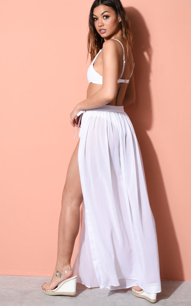 Tie waist cover up wrap maxi beach skirt white by LILY LULU FASHION