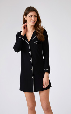 Bamboo Nightshirt Black by Pretty You London