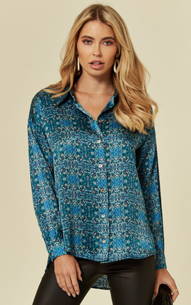 Silk Satin Boyfriend Fit Tile Print Shirt by Belles of London
