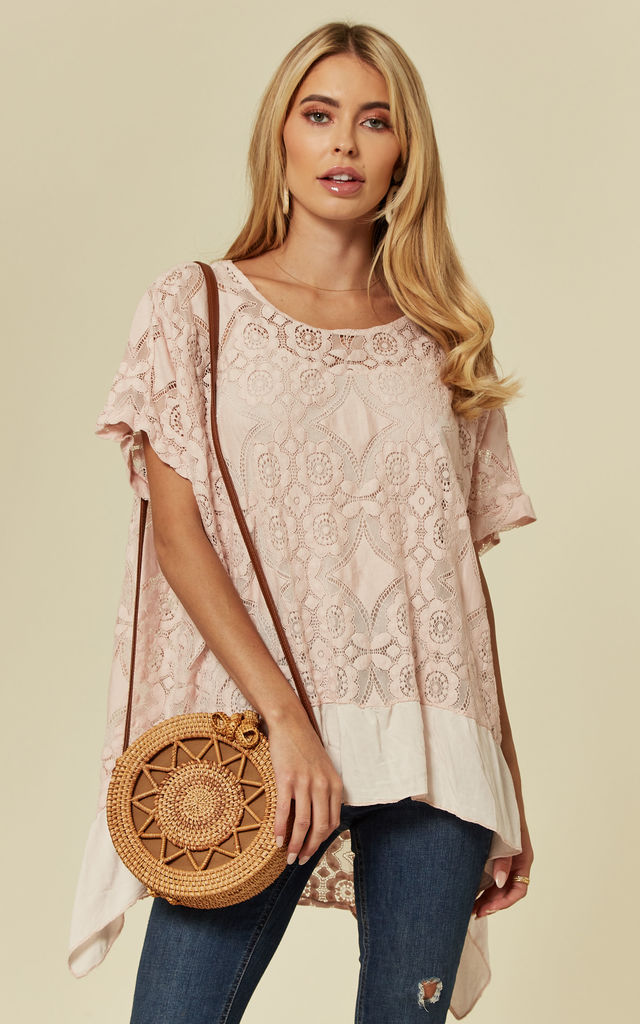 MAEGAN - Flowered Burnout Blush Top by Blue Vanilla