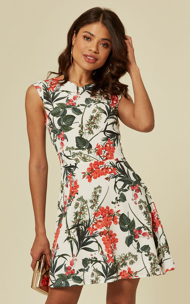 Exclusive White Tropical Flower Print Skater Dress by TENKI LONDON