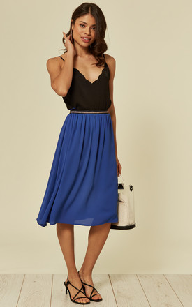 GIA MIDI SKIRT in BLUE BLOCK COLOUR by SUGARHILL BRIGHTON