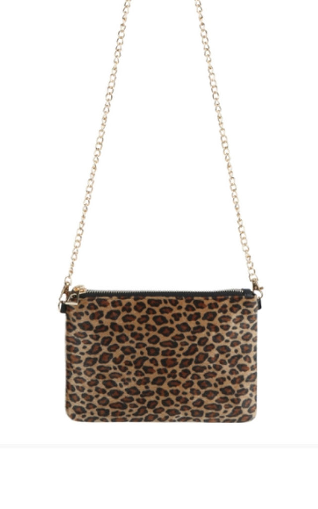Evening Bag with Gold Chain in Beige Leopard Print by LULU IN THE SKY