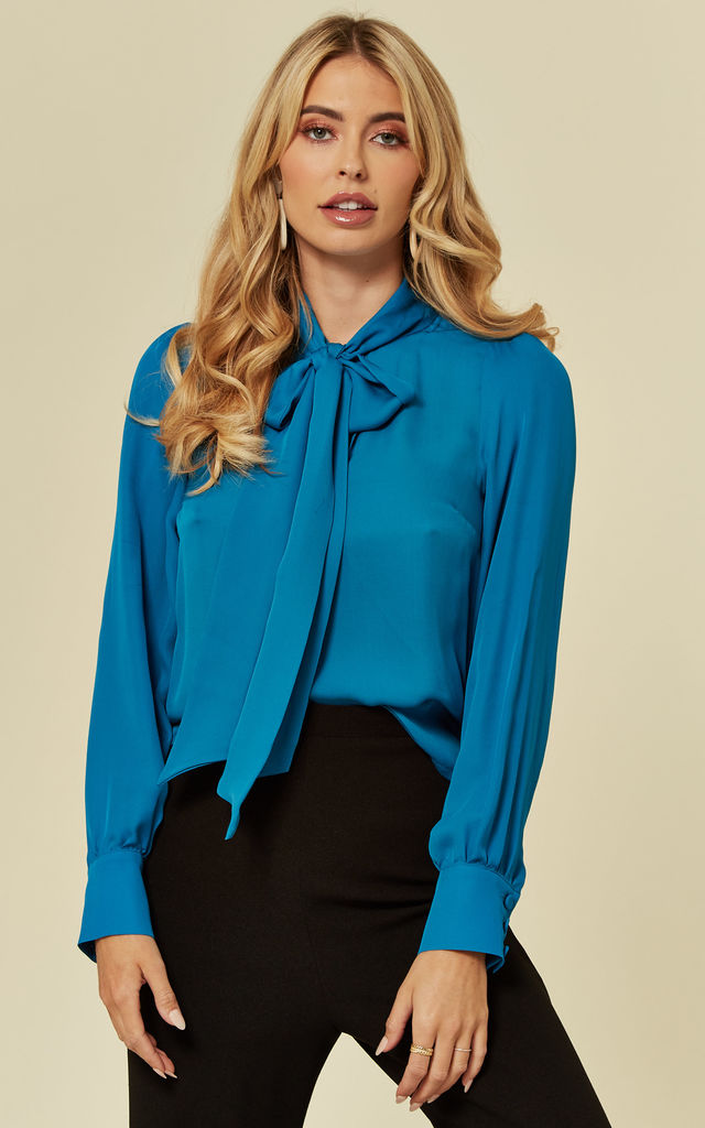 Penelope Pussy Bow Teal Silk Blouse by Belles of London