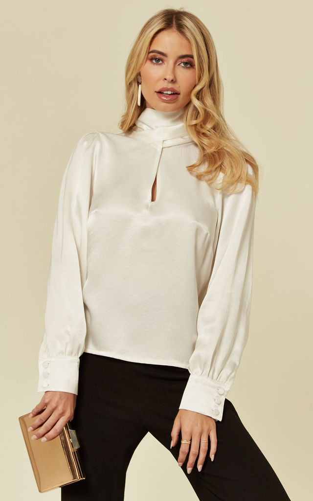 Penelope Tie Neck Ivory Top by Belles of London