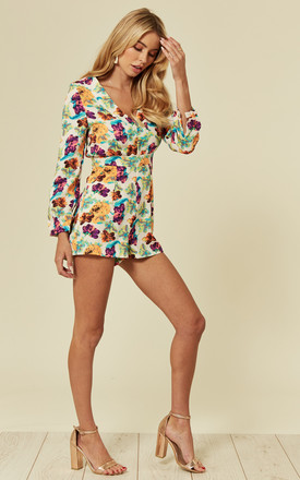 Long Sleeve Playsuit in Neon Floral Print by Madam Rage