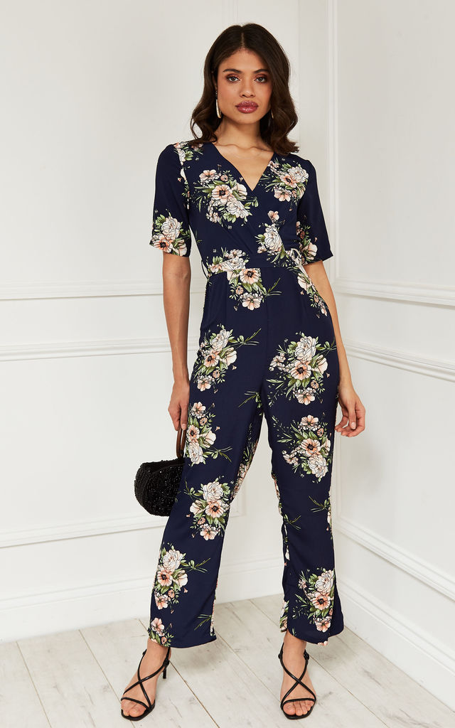 Short Sleeve Wrap Jumpsuit in navy floral by Bella and Blue
