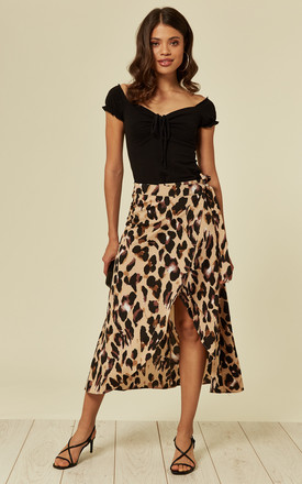 Leopard Print Wrap Skirt by Oeuvre Product photo