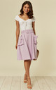 LILAC MIDI SKIRT WITH SIDE POCKETS AND BELT. by Oeuvre