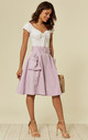 LILAC MIDI SKIRT WITH SIDE POCKETS AND BELT by Oeuvre