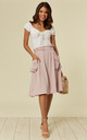 DUSKY PINK MIDI SKIRT WITH SIDE POCKETS AND BELT. by Oeuvre
