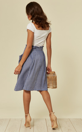BLUE PIN STRIPE MIDI SKIRT WITH SIDE POCKETS AND BELT. by Oeuvre