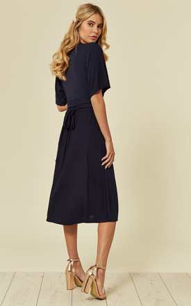 Georgia Wrap Dress in Navy Jersey Crepe by Belles of London