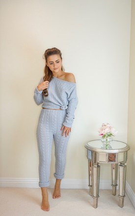 Top and Trousers Two Piece Lounge suit in Grey Cable Knit by Styled Clothing