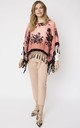 Floral Poncho With Hand Beaded Fringes Coral by Spiritual Hippie