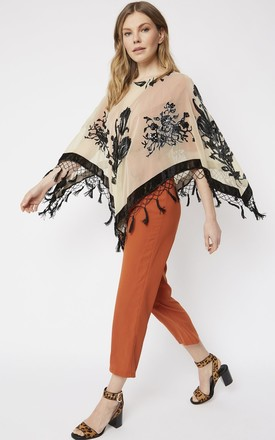 Floral Poncho With Hand Beaded Fringes Mocha by Spiritual Hippie
