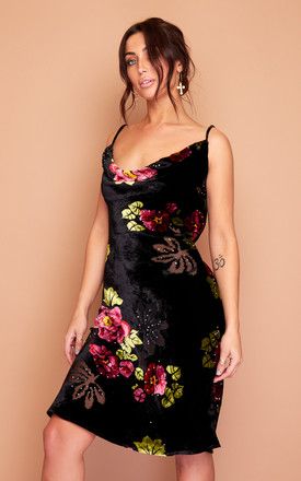 Kate Black Pink Floral Velvet Slip Dress by Wired Angel