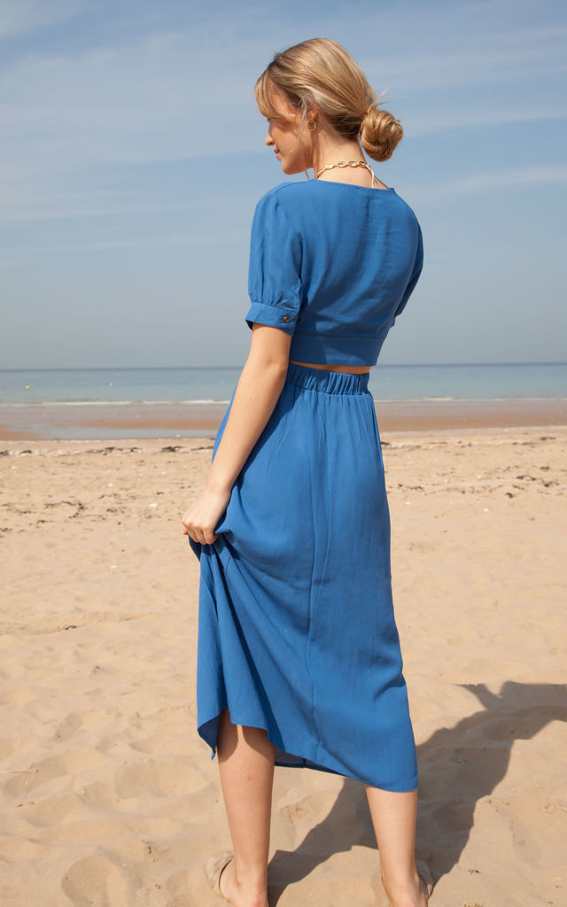 Blue Linen Button Down Top + Midi Skirt Co ord by Styled In London