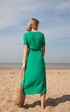 Green Linen Button Down Top + Midi Skirt Co ord by Styled In London