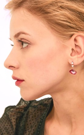 Pink Crystal Drop Earrings. 925 Silver Posts by With Bling Product photo