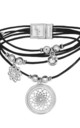 Seren Layered Leather Bracelet with Dreamcatcher Charm in Black and Silver by Bibi Bijoux